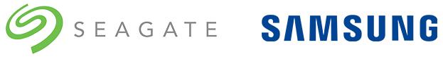 Logotipos de Seagate y Samsung