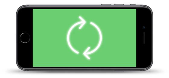 iPhone con símbolo de sustitución